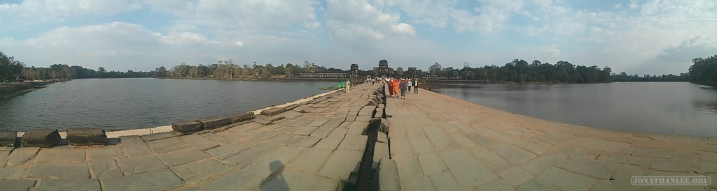 Angkor Archaeological Park - panorama Angkor Wat bridge 1