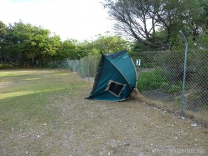 Australia travel camping - blown over tent