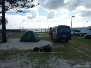 Australia travel camping - camping alongside ocean