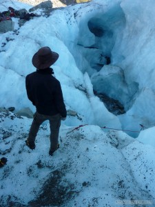 Fox Glacier - looking into crevasse