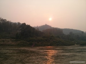 Huay Xai to Luang Prabang - sunset from Pakbeng 1