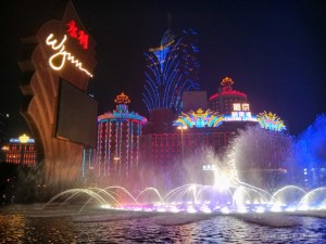 Macau - casino light display fountain