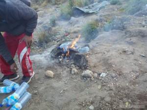 Mount Rinjani - burning trash 2