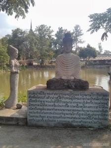 Nong Khai - Sala Keoku 39 meditating by lake