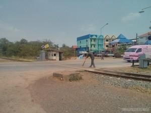 sweeping train tracks