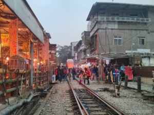 Pingxi - Shifen railroad through town 1