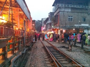 Pingxi - Shifen railroad through town 3