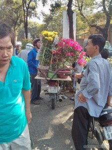 Saigon during Tet - flowers on motorbike