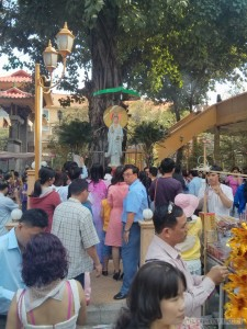 Saigon during Tet - pagoda filled with people