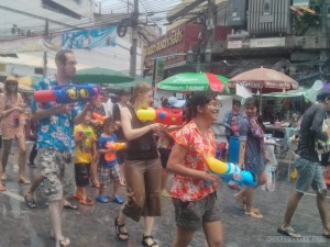 Songkran in Bangkok - Khao San water fight 2