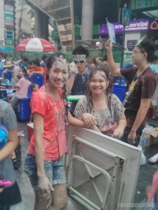 Songkran in Bangkok - Silom covered in white powder
