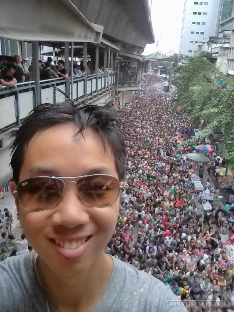 Songkran in Bangkok - Silom portrait from above 2