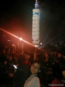 Taipei 101 New Years fireworks - portrait of sister
