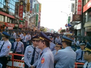 Taiwan National Day - wall of police