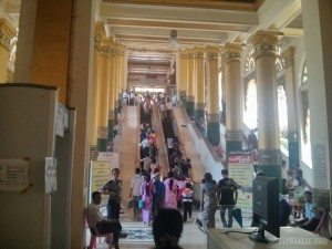 Yangon - Shwedagon pagoda abandoned security checkpoint
