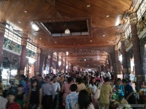 Yangon - Shwedagon pagoda southern entrance crowd